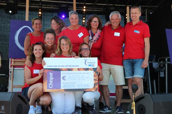 Team SamenLoop voor Hoop Hillegom op podium met cheque
