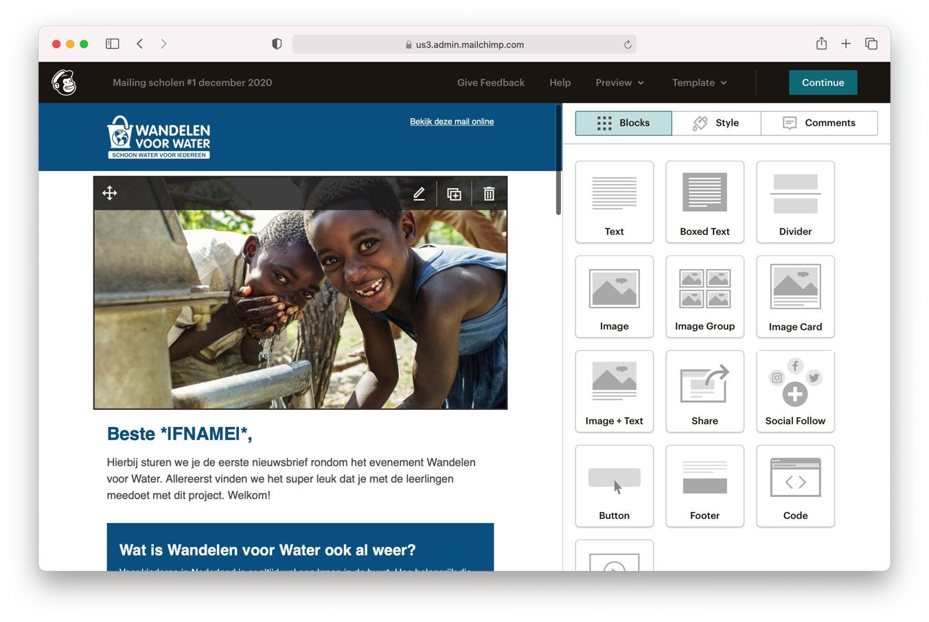 MailChimp Wandelen voor Water Simavi