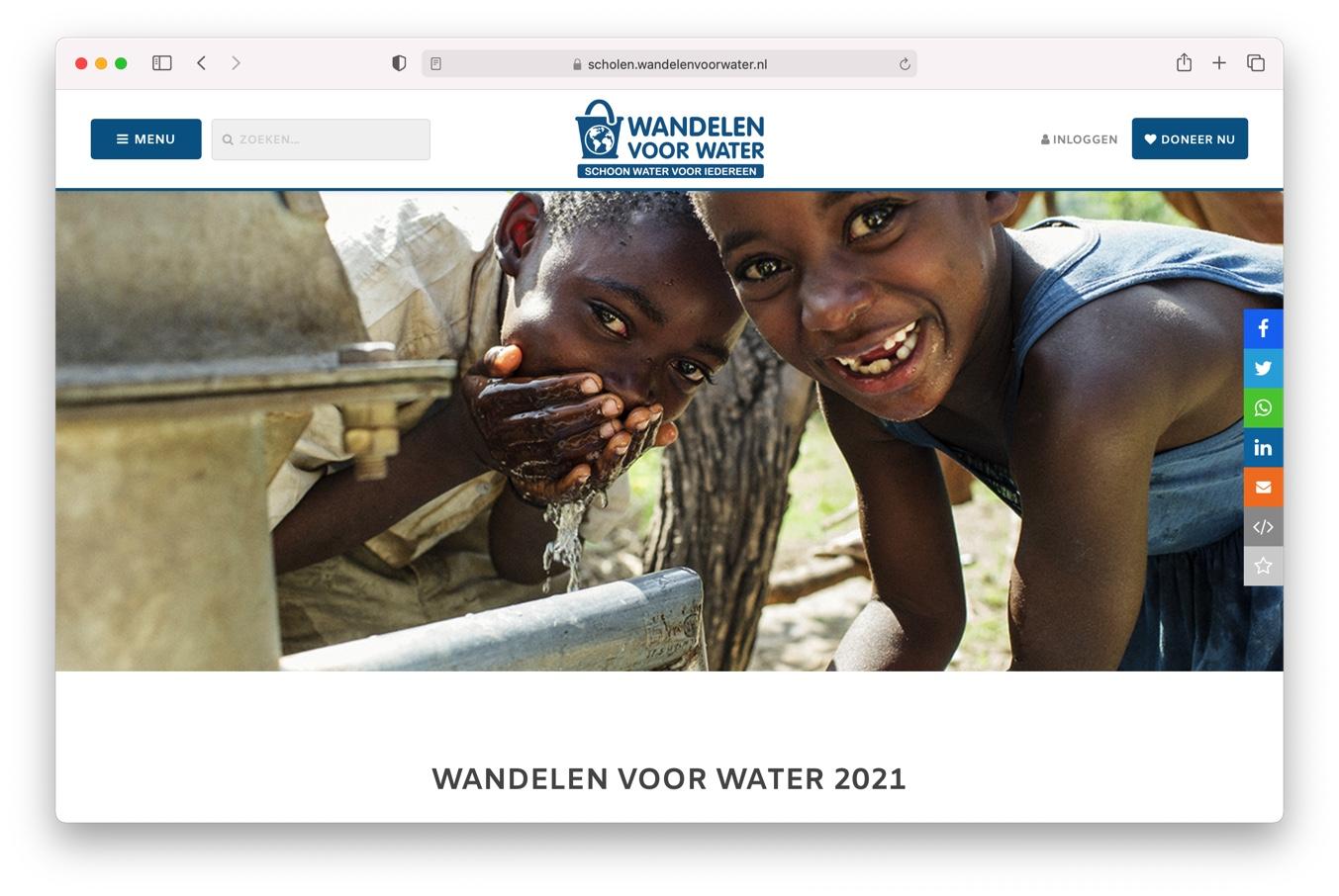 Website Wandelen voor Water Simavi